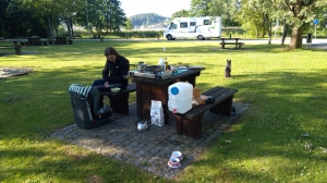 Breakfast on the parking lot in Sweden