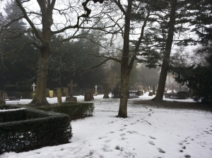 Graveyard in winter.